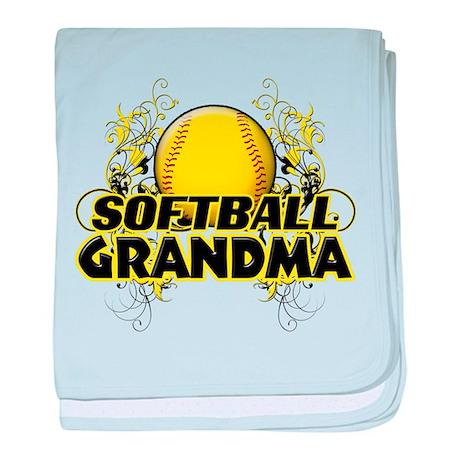 Softball Grandma (cross).png baby blanket