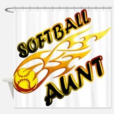 Softball Aunt (flame).png Shower Curtain