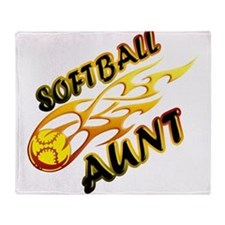 Softball Aunt (flame).png Throw Blanket