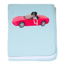 Dog Red Car baby blanket