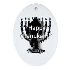 Happy Chanukah Bigfoot Ornament (Oval)