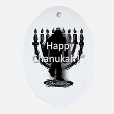 Happy Chanukah Bigfoot Ornament (Oval)