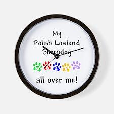 Polish Lowland Sheepdog Walks Wall Clock