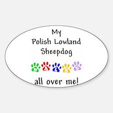 Polish Lowland Sheepdog Walks Oval Decal
