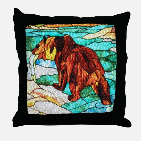 BEAR FISHING DIMPLED EFFECT Throw Pillow