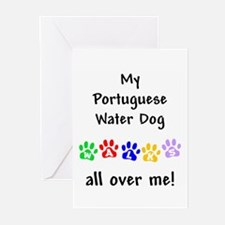 Portugese Water Dog Walks Greeting Cards (Package