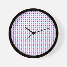 Cyan and Magenta Plaid Wall Clock