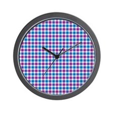 Blue and Violet Plaid Wall Clock
