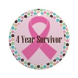 4 year breast cance survivor with ribbon Round Ornaments