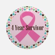 4 Year Breast Cancer Survivor Ornament (Round)