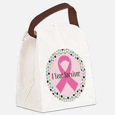 4 Year Breast Cancer Survivor Canvas Lunch Bag