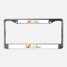 I Love Obama Rainbow License Plate Frame