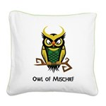 Owl of Mischief Square Canvas Pillow