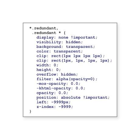 CSS Redundant Class 3-inch Square Sticker