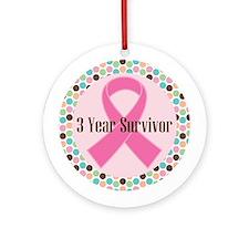 3 Year Breast Cancer Survivor Ornament (Round)
