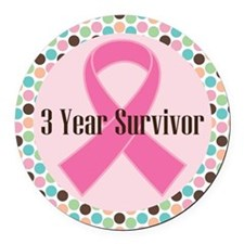 3 Year Breast Cancer Survivor Round Car Magnet