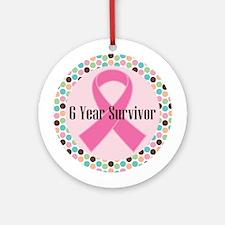 6 Year Breast Cancer Survivor Ornament (Round)