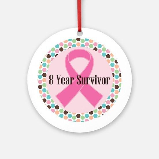 8 Year Breast Cancer Survivor Ornament (Round)