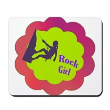 Rock Girl rock climber design Mousepad