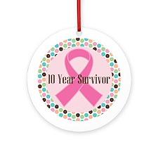 10 Year Breast Cancer Survivor Ornament (Round)
