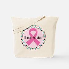 10 Year Breast Cancer Survivor Tote Bag