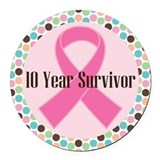 Breast cancer survivor 10 years Car Magnets