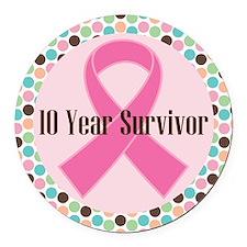 10 Year Breast Cancer Survivor Round Car Magnet