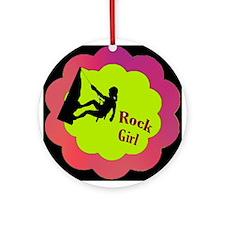 Rock Girl Rock climber design Ornament (Round)