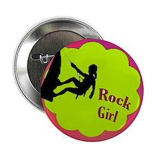 "Rock Girl Rock climber design 2.25"" Button"