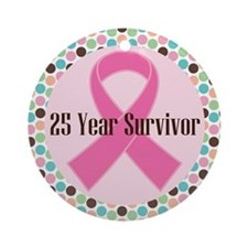 25 Year Breast Cancer Survivor Ornament (Round)