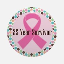 25 Year Breast Cancer Survivor Ornament (Round)