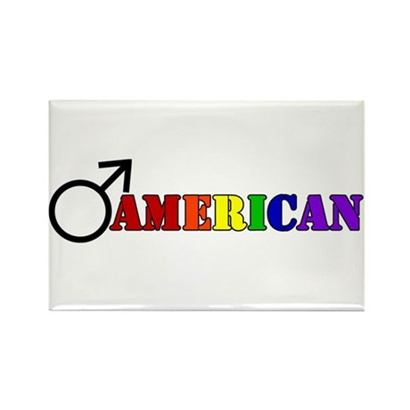 Gay American Rectangle Magnet
