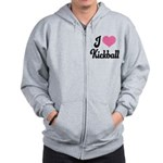 I Love Kickball Zip Hoodie