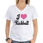 I Love Kickball Women's V-Neck T-Shirt