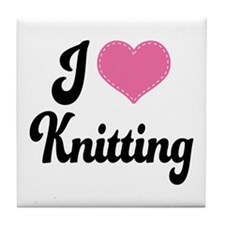 I Love Knitting Tile Coaster