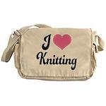 I Love Knitting Messenger Bag