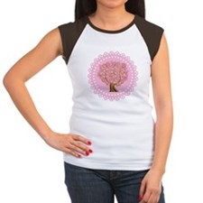 Pink Ribbon Breast Cancer Tree Women's Cap Sleeve