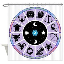 Zodiac Wheel in Purple Stars and Moons Shower Curt