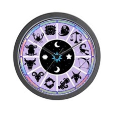 Zodiac Wheel in Purple Stars and Moons Wall Clock