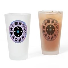 Zodiac Wheel in Purple Stars and Moons Drinking Gl