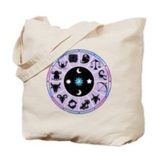 Zodiac Wheel in Purple Stars and Moons Tote Bag
