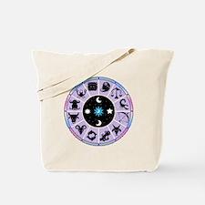 Zodiac Wheel in Purple Stars and Moons Tote Bag