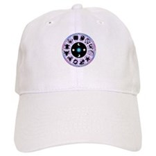 Zodiac Wheel in Purple Stars and Moons Baseball Cap