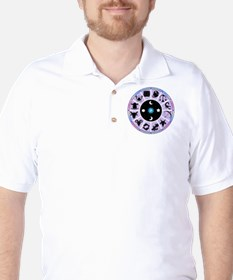 Zodiac Wheel in Purple Stars and Moons T-Shirt
