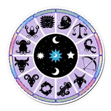 Zodiac Wheel in Purple Stars and Moons Round Car M