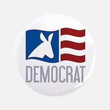 "Democrat Donkey Flag 3.5"" Button"