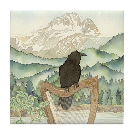 Raven w/ Harp Tile Coaster