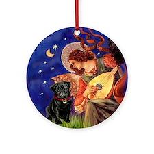 Mandolin Angel & Black Pug Ornament (Round)