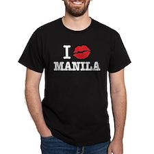"""""""I (muah) MANILA"""" Black T-Shirt"""