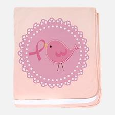 Breast Cancer Pink Bird baby blanket